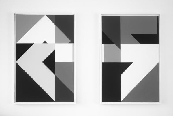 tweeluik,compositie zonder titel nr. 2015-6 en 7, 40x60cm.