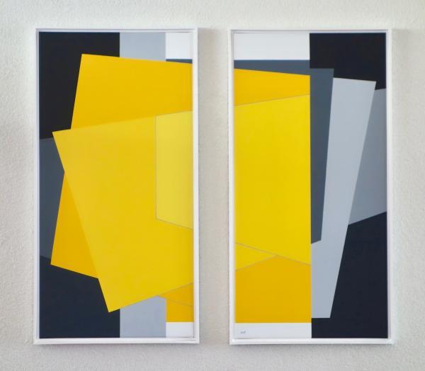 tweeluik, comp. zonder titel nr. 2017-7, ieder 40 x 80 cm.