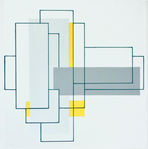compositie zonder titel nr. 2018-14, acryl op linnen, 40x40cm.