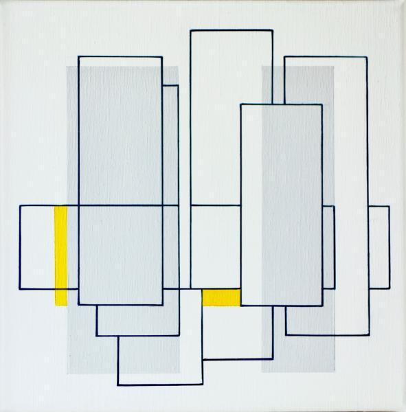 compositie zonder titel nr. 2018-15, acryl op linnen, 40x40cm.