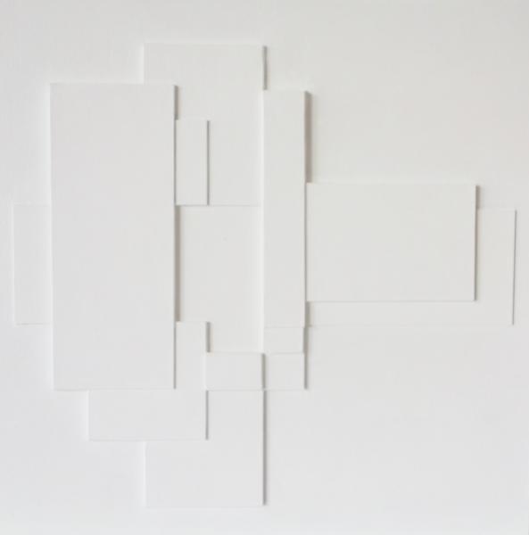 compositie zonder titel, nr.2018-16, reliëf, 40x40cm.