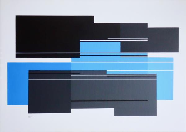 compositie zonder titel, nr. 2019-8 , acryl op linnen, 50x70cm.